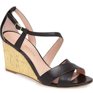 Enzo Angiolini vanida Black Leather wedge sandal 7